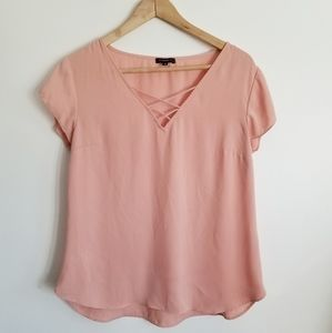 Dynamite blush pink short sleeve blouse